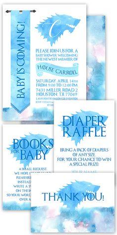 Baby is coming! Game of thrones Baby Shower Party Invitation #babyshower #babyboy #baby #shower #gameofthrones #stark #direwolf #housestark #babyboy #itsaboy
