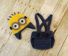 Crochet Baby Boy Minion Hat Diaper Cover and Suspenders Set
