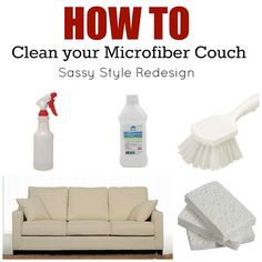DIY cleaner recipes that really work-how to clean your microfiber couch @Tausha Hoyt {Sassy Style Redesign}