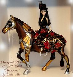 "STEAMPUNK HORSE FOR EVANGELINE GHASTLY AND OTHER 17-18"" DOLLS - OOAK BY COLLET-ART by collet-art, via Flickr"
