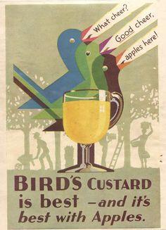 what cheer? Vintage Food Posters, Vintage Labels, Vintage Ads, Vintage Images, Retro Advertising, Advertising Signs, Vintage Advertisements, Retro Ads, Bird's Custard
