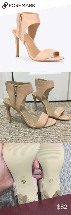"""ANN TAYLOR JULIET ANKLE ZIP SANDALS NUDE BEIGE Nwt DESCRIPTION These rich leather sandals stand tall with a take-notice ankle strap and edgy metal zipper detail.   Round open toe.  Exposed outer zip.   Padded footbed for complete comfort.   Covered 3 3/4"""" heel.  New with tags  Sheep Nappa  Imported  Style 365571-AT90141 Ann Taylor Shoes Sandals"""