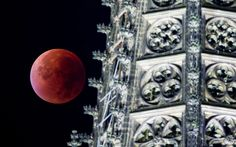 The perigee full moon, or supermoon, appears red besides a spire of the Cologne cathedral during a total lunar eclipse over Cologne, Germany
