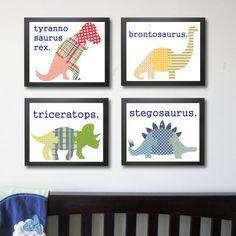 Dinosaur Nursery Art Prints, Childrens Art - Set of 4 Prints 8 x Baby Boy Art, Kids wall art, Children Decor via Etsy Baby Boy Art, Baby Boy Rooms, Baby Boy Nurseries, Kid Rooms, Baby Room, Dinosaur Nursery, Dinosaur Art, Dinosaur Prints, Dinosaur Projects