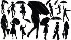 Girl With Umbrella Silhouette Vector (13)