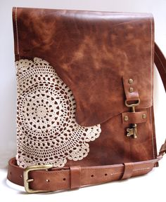 Leather Boho Messenger Bag with Antique Key and Crochet Lace Doily - Large Working Key Style - MADE Lace Doilies, Crochet Doilies, Crochet Lace, Cles Antiques, Leather Festival Bags, Black Leather Messenger Bag, Leather Bags, Leather Backpacks, Brown Leather