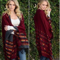 """NEW Reversible Tribal Tassel Blanket Poncho Warm and cozy reversible """"blanket"""" style tribal tassel poncho. One side is Burgundy and the alternate side is Gray. 61"""" X 55"""". 100% acrylic. New without tags. Sweaters Shrugs & Ponchos"""