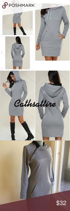 "Coming Soon Hoodie Dress Hoodie dress with pockets and long sleeves.  Comes in M. Bust 36"". Waist 31"". Hips 36"". Length 34"".  Arm sleeve length 19"". FIRM PRICE. Wear with boots or leggings. Comfy, pretty and fun. Models wearing size M Dresses Mini"