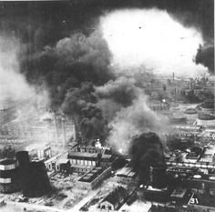 Smoke rises from the Astra Romana refinery in Ploesti Romania following low level bombing attack by B-24 Liberators, Aug 1 1943.