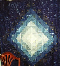 Blue Log Cabin quilt by Linda Rotz Miller. Great color gradations!