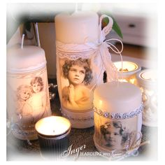 Decorated Christmas Candles made by Inger Harding.