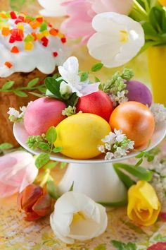 Photo about Easter eggs and cake on festive table. Happy Easter, Easter Bunny, Easter Eggs, Cute Snacks, Easter Pictures, Easter Parade, Food Journal, Easter Holidays, Easter Table