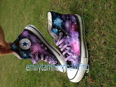 Galaxy high top converse shoes. It looks great with purple lace