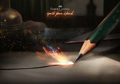 """Print Ad Idea for Faber-Castell Product: Graphite pencil Castell 9000 HB Concept: """"Ignite your spark"""" Student Project - Miami Ad School Europe / © Copyright 2018 Tudor Cucu Polychromos, Faber Castell, Print Ads, Photo Manipulation, Tudor, Graphite, Art Direction, Layout Design, Miami"""