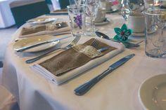 Hessian cutlery pouch, wedding table setting