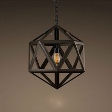 $149 restoration knock offFree Shipping!Vintage Industrial Edison Pendant Light Wrought Iron Polyhedron Art Deco Cage Rustic Cord Loft Coffee Bar Lamp(China (Mainland...