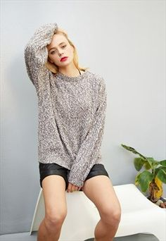 90's retro grunge oversized knitted Boyfriend's jumper top