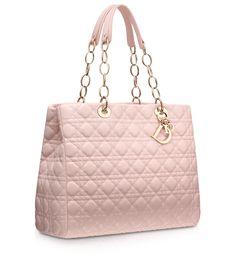 #Dior Large powder pink leather 'Dior Soft' shopping bag