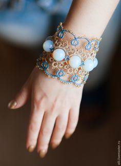 """Купить Браслет """"Лунный свет"""" - разноцветный, фриволите, браслет, Браслет ручной работы, браслет с камнями"""