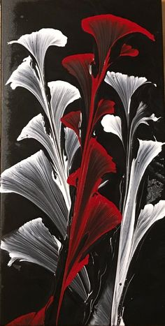 String Pull Acrylic Art Flower Black background with white and red flowers Acrylic Pour Painting, Fluid Art, Abstract Painting, Original Artwork, Acrylic Pull Painting Wrapped Canvas Black Background Painting, Original Artwork, Original Paintings, Art Paintings, Acrylic Pouring Art, Pour Painting, Painting Abstract, Painting Art, Acrylic Artwork