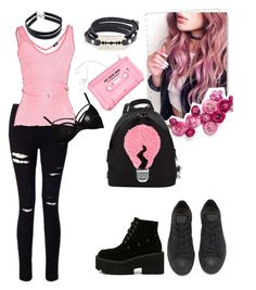 """""""Back to School Style: Pink & Black"""" by dreammoore13 on Polyvore featuring Miss Selfridge, Fendi, Splendid, Converse, Lazy Oaf, McQ by Alexander McQueen, Jezebel and Forever 21"""