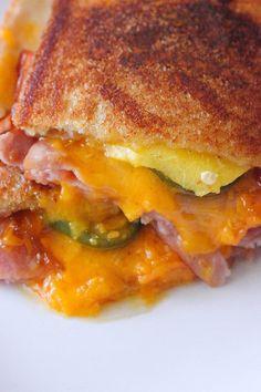 Ham, Peach & Jalapeno Grilled Cheese Sandwich - Brown Sugar