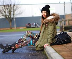 Combination of parka coat with printed leggings and boots