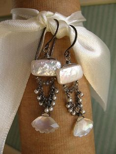 """Set My Heart A'flutter! | by Brenda McGowan Jewelry/ Studio B Pearl, labradorite, & moonstone lovlies, on oxidized sterling silver."" (quote)"
