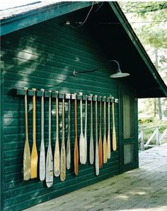 paddles used to decorate a wall