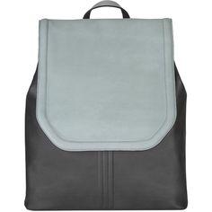 ELENA KARAVASILI - Monolith Backpack Blue & Grey (692 AUD) ❤ liked on Polyvore featuring bags, backpacks, blue backpack, leather laptop bag, leather knapsack, grey leather backpack and genuine leather backpack