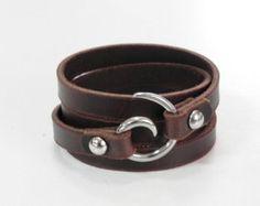 Abrigo marrón cuero cuero brazalete pulsera con cierre por BeadSiam