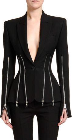 Fall Trends & Collections at Bergdorf Goodman Alexander Mcqueen Designs, Alexander Mcqueen Clothing, Suit Fashion, High Fashion, Long Blazer, Sweater Skirt, Black Blazers, Fall Trends, Jacket Dress