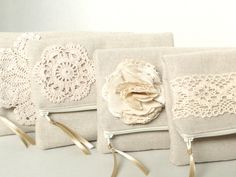 Country chic wedding, bridesmaids gifts under 25, clutch burlap and lace wedding, rustic natural wedding, crochet lace detailed beige clutch. $22.00, via Etsy.