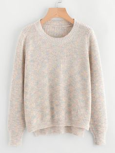 Shop Dip Hem Textured Knit Sweater at ROMWE, discover more fashion styles online. Pullover Designs, Long Sleeve Sweater, Big Sweater, Sweater Fashion, Outfits For Teens, Cable Knit, Knitwear, Cool Style, Dip