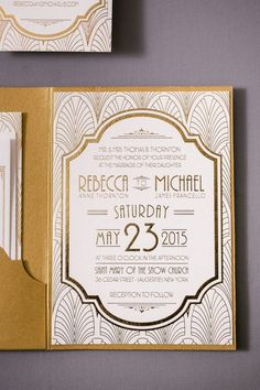 Art deco wedding invitations will always be timeless and a classic. The invitations were designed with a scallop pattern and a bold font for their names.