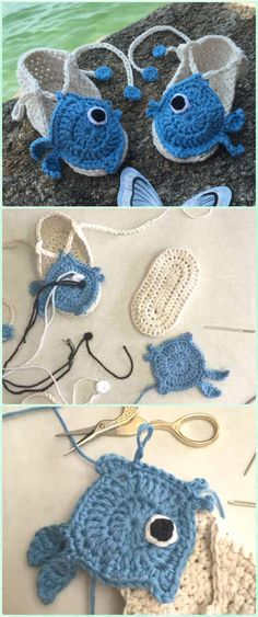 Crochet Fishy Summer Baby Bootie Free Pattern-Crochet Baby Sandals Free Patterns