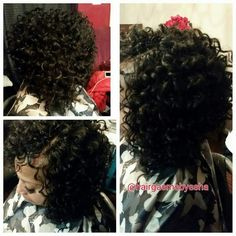 Crochet braids, Freetress Gogo Curl cut into a bob. Schedule your appointment today for a protective style. www.styleseat.com/eshalms
