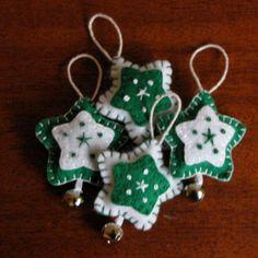Handmade Green Felt Star Christmas Ornament Set by genae8design: