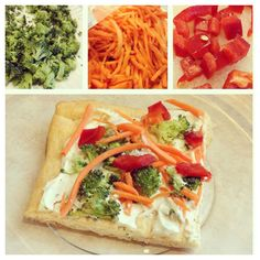 Here's a yummy Cold Veggie Pizza appetizer!What you need: -1 can of Pillsbury cresant roll dough -1 packet of dried ranch dressing -1 8oz package of softened cream cheese -chopped/shredded vegetables of choice (broccoli, carrots, red bell pepper, etc.)