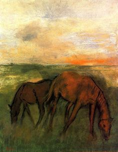 Edgar Degas -Two Horses in a Pasture by BoFransson, via Flickr