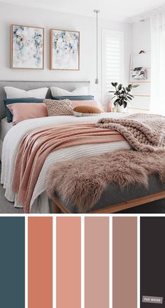 Mauve, Peach and Teal Colour Scheme For Bedroom. Mauve, Peach and Teal Colour Scheme For Bedroom. Mauve, Peach and Teal Colour Scheme For Bedroom. Mauve and peach color scheme for home decor From beautiful wall colors to eye-catching Teal Bedroom Decor, Peach Bedroom, Best Bedroom Colors, Bedroom Colour Palette, Home Bedroom, Teal Bedrooms, Calming Bedroom Colors, Spare Bedroom Ideas, Teal Master Bedroom