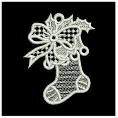 Wind Bell Embroidery Embroidery Design: FSL Christmas Ornaments inches H x inches W Machine Embroidery Applique, Custom Embroidery, Embroidery Thread, Embroidery Patterns, Freestanding Lace Embroidery, Point Lace, Christmas Embroidery, Lace Patterns, Christmas Ornaments