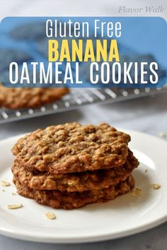This Banana Oatmeal Cookie Recipe makes unbelievably soft tender and chewy cookies. The delicious banana flavor and texture from the oats is hard to resist. If you have ripe bananas waiting to be used you have to try this recipe! Best Gluten Free Cookies, Gluten Free Cookie Recipes, Sugar Free Cookies, Gluten Free Banana, Healthy Cookies, Gluten Free Desserts, Diabetic Desserts, Diabetic Recipes, Banana Oatmeal Cookies