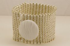 White and Silver Button Bracelet  18 cm by KRDesigns11 on Etsy