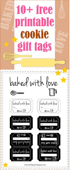 FREE printable cookie tags | gift labels for bakery goods | baked with love