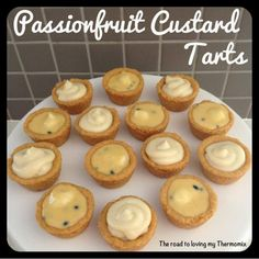 Passionfruit Custard Tarts - The Road to Loving My Thermo Mixer Sweet Pie, Sweet Tarts, Thermomix Desserts, Dessert Recipes, Fruit Custard Tart, Bellini Recipe, Passionfruit Recipes, Biscuit Cake, Baking Cupcakes