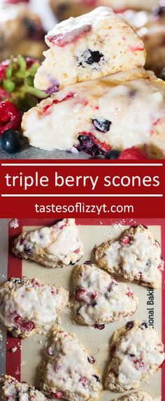 These Triple Berry Scones are soft, moist and full of raspberries, blueberries and strawberries. Don't forget the lemon glaze on top!