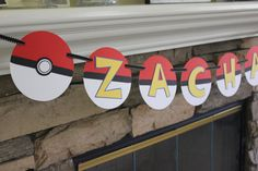Let this Pokemon inspired banner add a special touch to your childs birthday celebration.  This banner is made from high quality card stock and coordinating scrapbook paper in black, red, white, blue and yellow. Each piece measures 5 1/2 inches. Please convo me if interested in a different color combination.  ***Please choose Style and color option and include the date you will need this***  Other items available to coordinate with this party theme, please convo me for options and pricing…