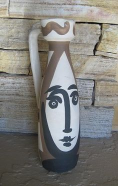Picasso Ceramic, Pitcher with Handle Decorated with Face, Edition Picasso Mark #picasso #ceramics