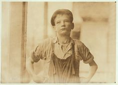 "Fursen Owens — 12 years old. Can't read. Doesn't know A, B, C's.  ""Yes I want to learn but I can't when I work all the time.""  Been in mills 4 years, 3 years in Olympia Mill, Columbia, S.C. and 1 year here in Augusta, Georgia. Photo taken January 1909."